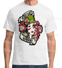 Roller Derby Girls Represent! - Geek Retro Fun Kitsch - Unisex White T-Shirt - Stack The Cards - [variant_title]