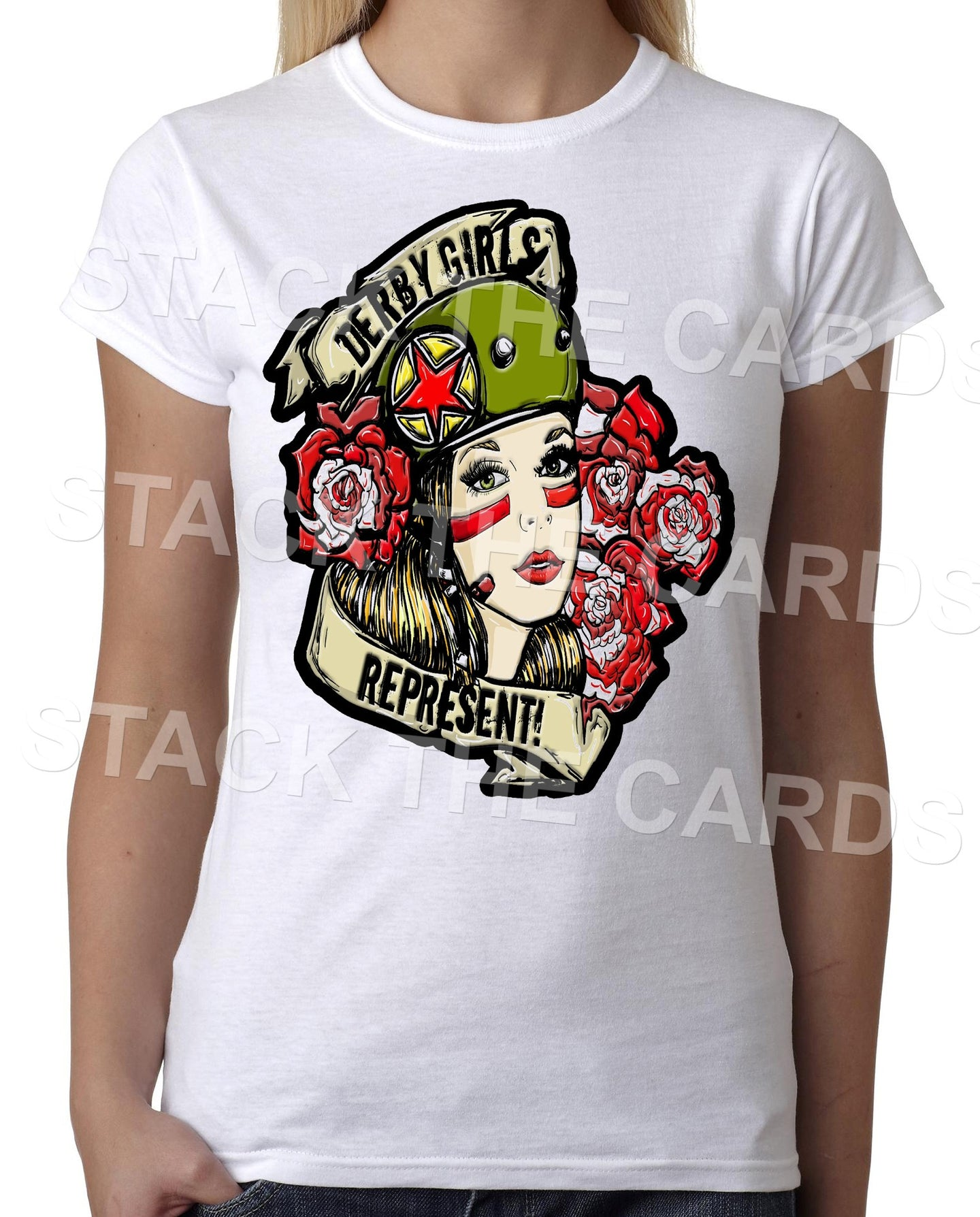 Roller Derby Girls Represent - Womens White T-Shirt - Geek Retro Fun Kitsch Cute - Stack The Cards - [variant_title]