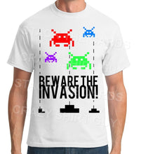 Beware The Space Invasion - Geek Retro Fun Kitsch - Unisex White T-Shirt - Stack The Cards - [variant_title]