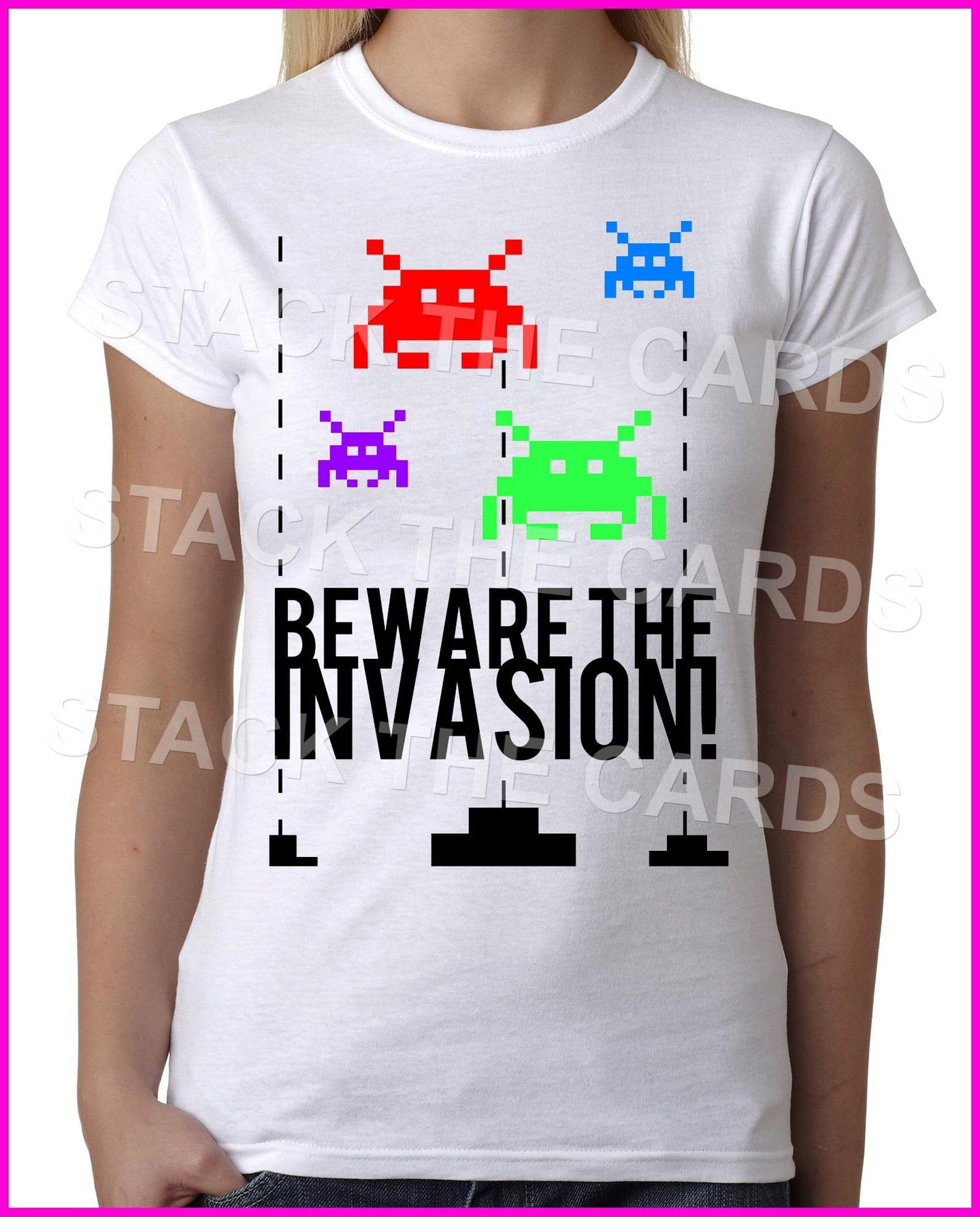 Beware The Space Invasion Invaders - Womens White T-Shirt - Geek Retro Fun Kitsch Cute - Stack The Cards - [variant_title]