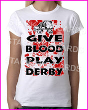Give Blood Play Roller Derby - Womens White T-Shirt - Geek Retro Fun Kitsch Cute - Stack The Cards - [variant_title]