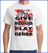 Give Blood Play Roller Derby - Geek Retro Fun Kitsch - Unisex White T-Shirt - Stack The Cards - [variant_title]