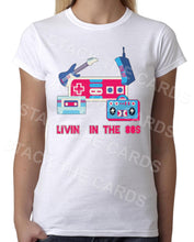 Living in the 80s - Womens White T-Shirt - Geek Retro Fun Kitsch Cute - Stack The Cards - [variant_title]