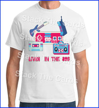 Living In The 80's funny - Geek Retro Fun Kitsch - Unisex White T-Shirt - Stack The Cards - [variant_title]