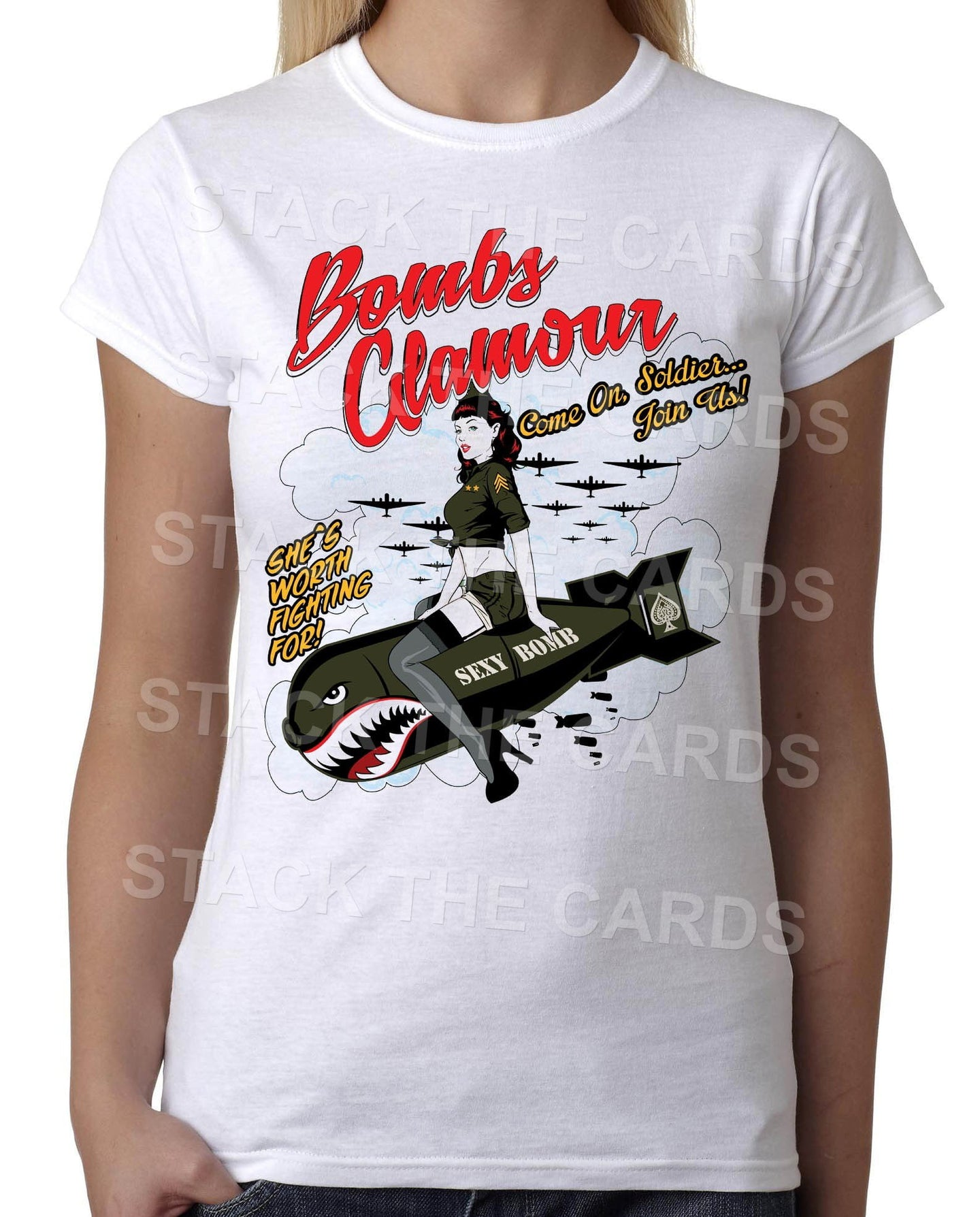 Bombs Glamour Pin Up Girl - Womens White T-Shirt - Geek Retro Fun Kitsch Cute - Stack The Cards - [variant_title]