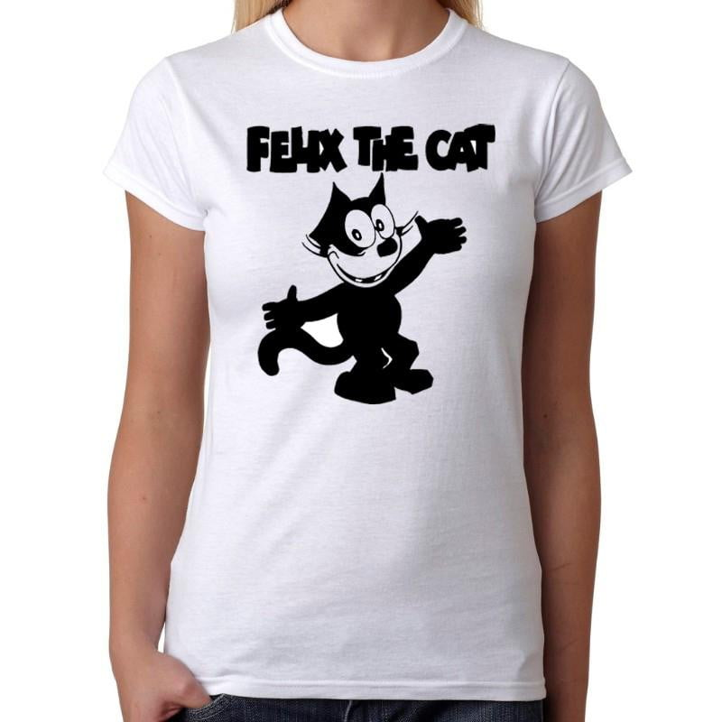 Felix The Cat - Womens White T-Shirt - Geek Retro Fun Kitsch Cute - Stack The Cards - [variant_title]