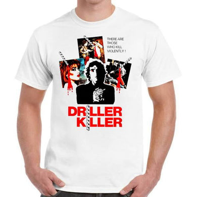 Driller Killer Horror Movie - Unisex White T-Shirt - Geek Retro Fun Kitsch - Stack The Cards - [variant_title]