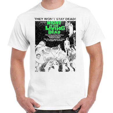 Night Of The Living Dead Horror - Unisex White T-Shirt - Geek Retro Fun Kitsch - Stack The Cards - [variant_title]