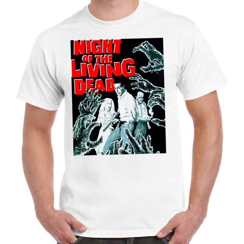 Night Of The Living Dead Poster Horror - Unisex White T-Shirt - Geek Retro Fun Kitsch - Stack The Cards - [variant_title]
