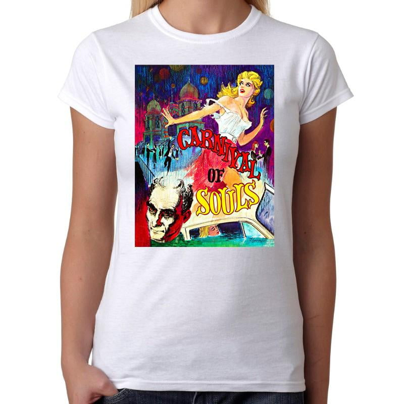 Carnival Of Souls Horror Movie - Womens White T-Shirt - Geek Retro Fun Kitsch Cute - Stack The Cards - [variant_title]