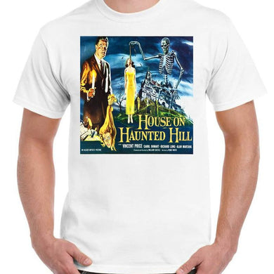 House on Haunted Hill Vincent Price - Unisex White T-Shirt - Geek Retro Fun Kitsch - Stack The Cards - [variant_title]