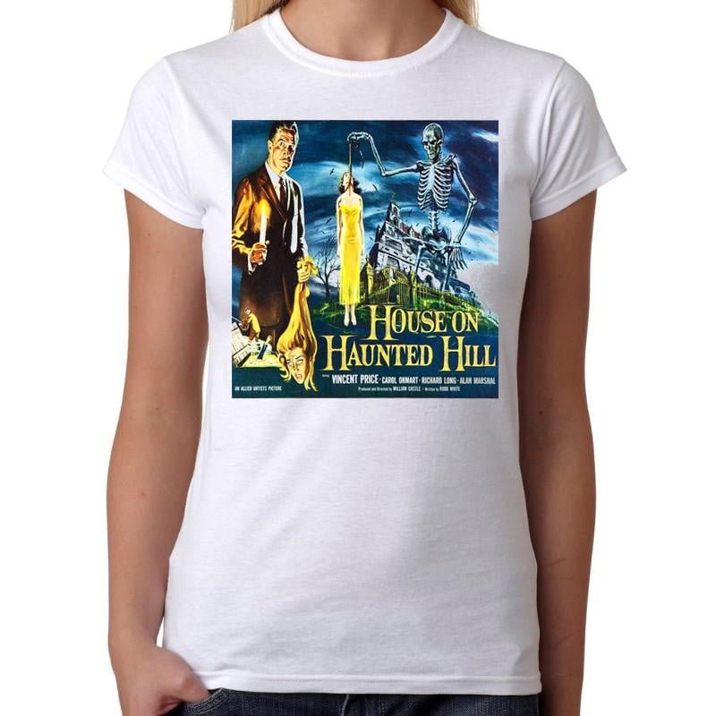 House on Haunted Hill Vincent Price - Womens White T-Shirt - Geek Retro Fun Kitsch Cute - Stack The Cards - [variant_title]