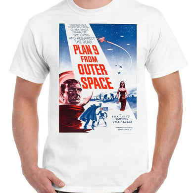 Plan 9 from Outer Space - Unisex White T-Shirt - Geek Retro Fun Kitsch - Stack The Cards - [variant_title]