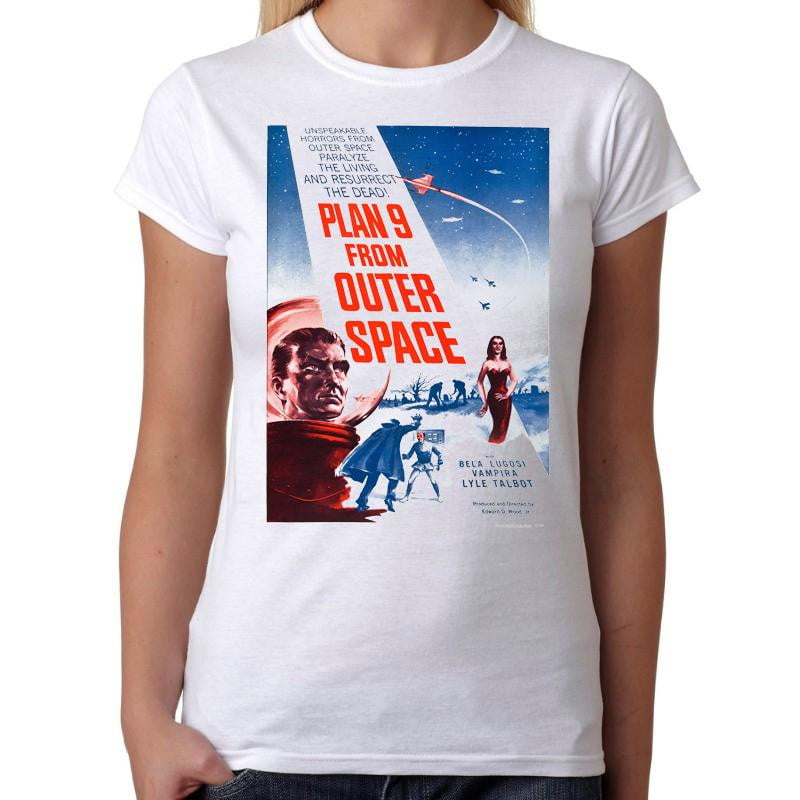 Plan 9 from Outer Space - Womens White T-Shirt - Geek Retro Fun Kitsch Cute - Stack The Cards - [variant_title]