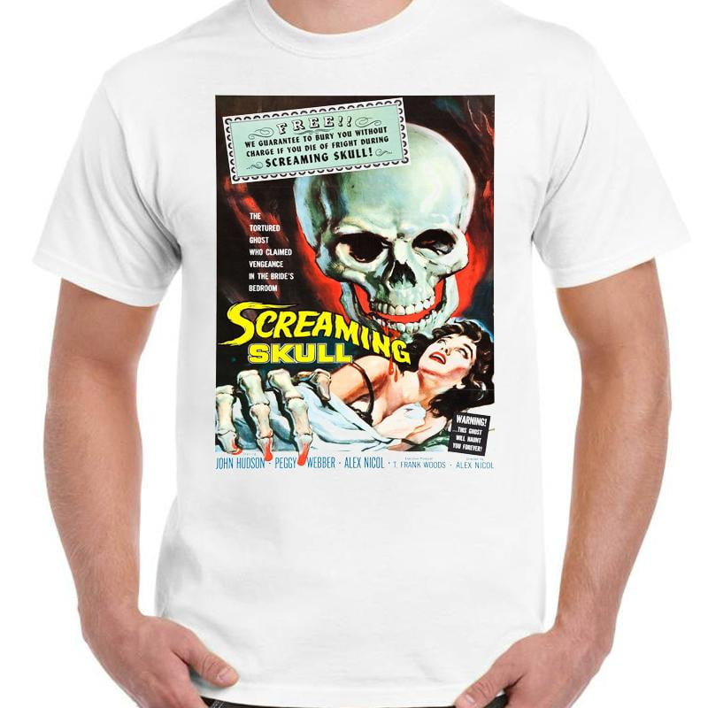 The Screaming Skull Horror - Unisex White T-Shirt - Geek Retro Fun Kitsch - Stack The Cards - [variant_title]
