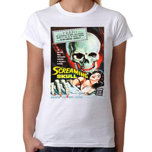 The Screaming Skull Horror - Womens White T-Shirt - Geek Retro Fun Kitsch Cute - Stack The Cards - [variant_title]