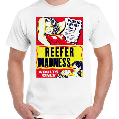 Reefer Madness - Unisex White T-Shirt - Geek Retro Fun Kitsch - Stack The Cards - [variant_title]
