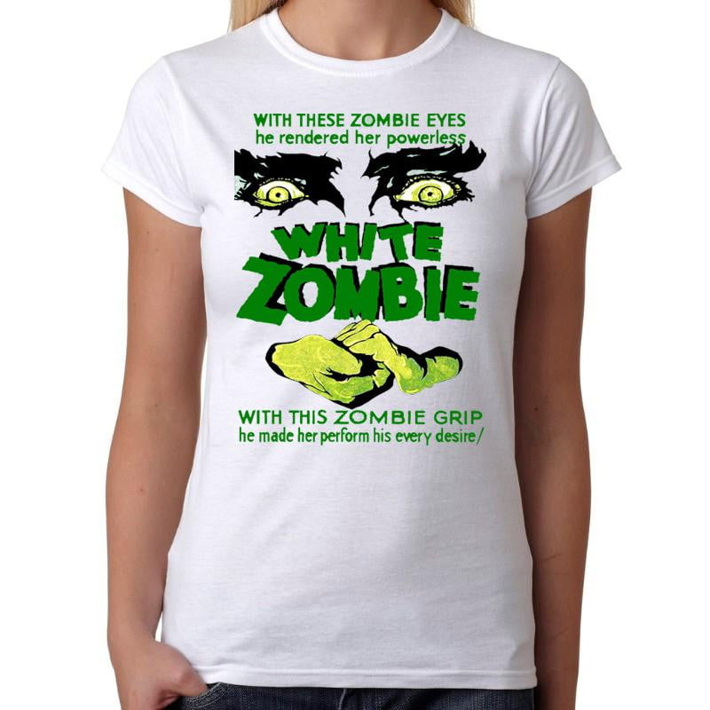 White Zombie Bela Lugosi - Womens White T-Shirt - Geek Retro Fun Kitsch Cute - Stack The Cards - [variant_title]