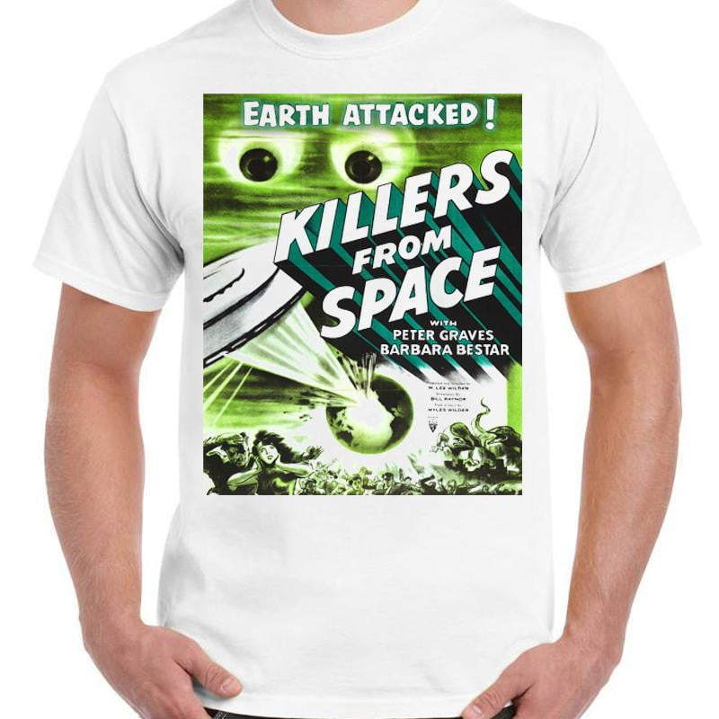 Killers From Space - Unisex White T-Shirt - Geek Retro Fun Kitsch - Stack The Cards - [variant_title]