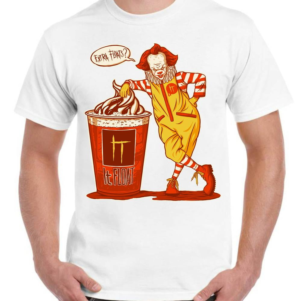 IT Float Pennywise Clown Horror - Unisex White T-Shirt - Parody Geek Retro Fun Kitsch - Stack The Cards - [variant_title]