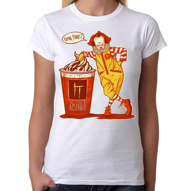 IT Float Pennywise Clown Horror - Womens White T-Shirt - Parody Geek Retro Fun Kitsch Cute - Stack The Cards - [variant_title]