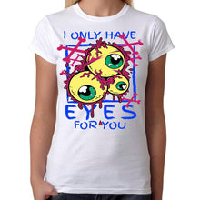 Only Have EYES For You - Womens White T-Shirt - Parody Geek Retro Fun Kitsch Cute - Stack The Cards - [variant_title]