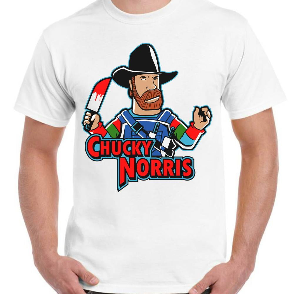 Chucky Norris - Unisex White T-Shirt - Parody Shirt - Stack The Cards - [variant_title]