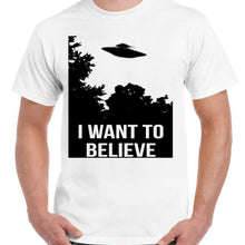 I want to believe UFO - Unisex White T-Shirt - Parody Shirt - Stack The Cards - [variant_title]