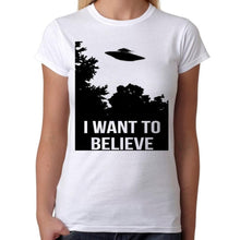 I want to believe UFO - Womens White T-Shirt - Parody Shirt - Stack The Cards - [variant_title]