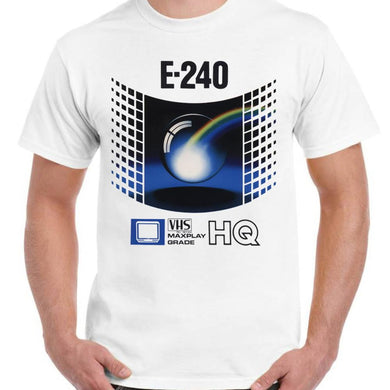 VHS Retro Videotape E240 - Unisex White T-Shirt - Parody Shirt - Stack The Cards - [variant_title]