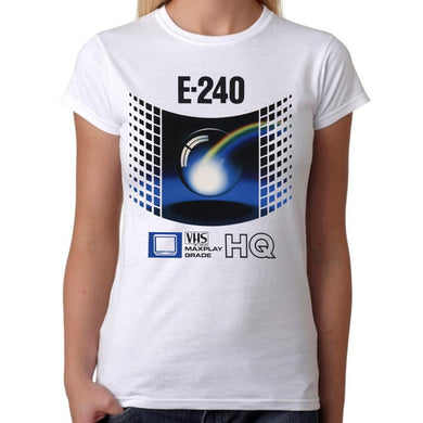 VHS Retro Videotape E240 - Womens White T-Shirt - Parody Shirt