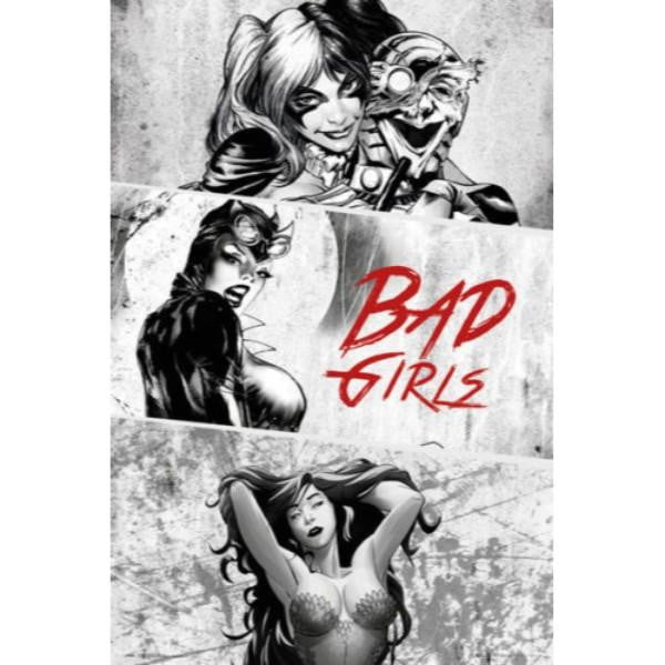 DC COMICS BAD GIRLS B&W #15 - 60X90cms Official Wall Poster - Stack The Cards - [variant_title]