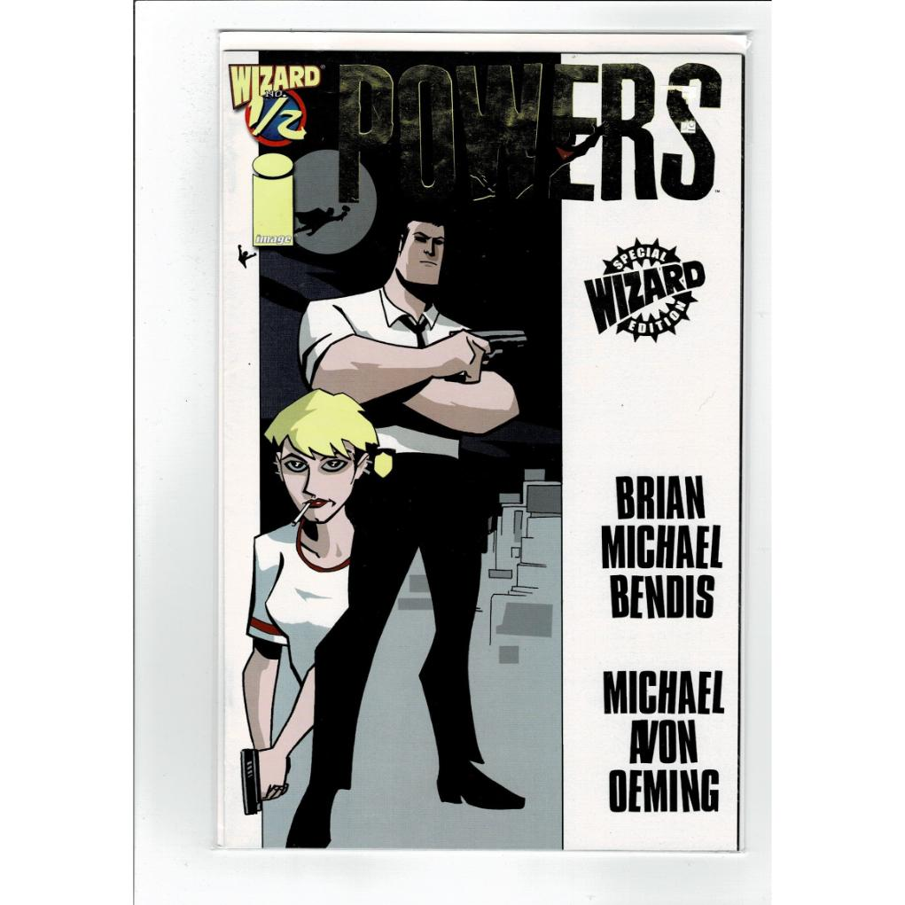 Powers #1/2 Gold Foil Special Wizard Edition Bendis Image Comics Book