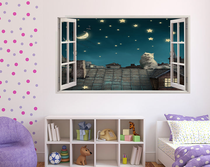 House Cat Starry Night Girls Bedroom Decal Vinyl Wall Sticker A012