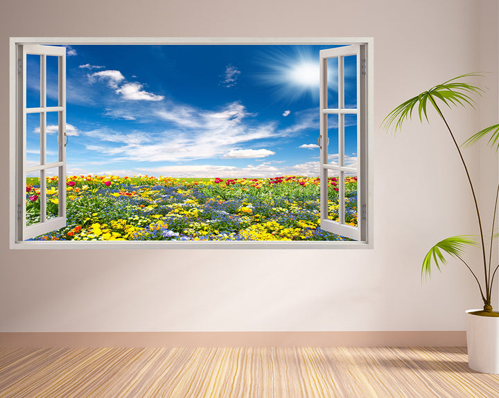 Floral Tulip Field Hall Decal Vinyl Wall Sticker A015w