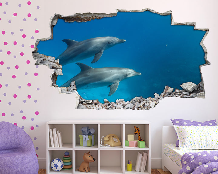 Dolphin Sea Animals Girls Bedroom Decal Vinyl Wall Sticker A018