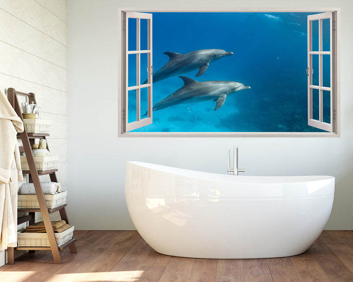 Dolphins Underwater Swim Bathroom Decal Vinyl Wall Sticker A018w