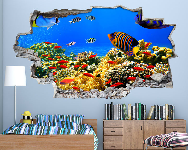 Orange#FF5D00 Fish Boys Bedroom Decal Vinyl Wall Sticker A038