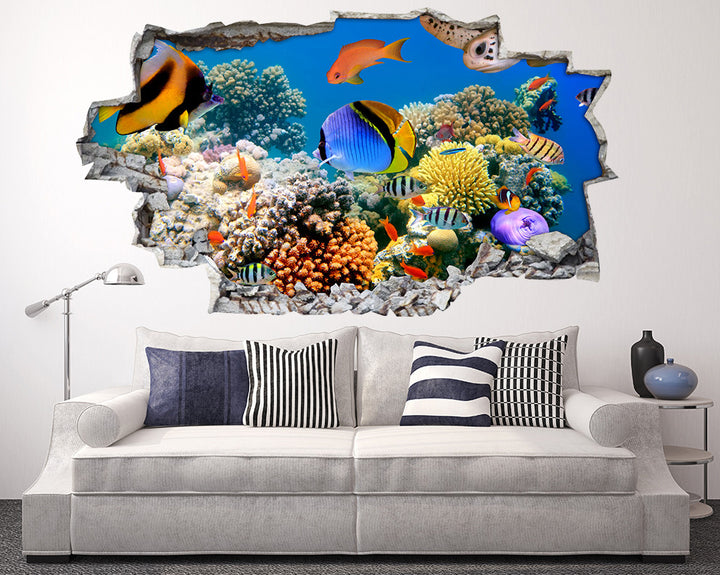 Busy Ocean Scene Living Room Decal Vinyl Wall Sticker A039