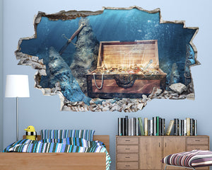 Pirate Treasure Chest Boys Bedroom Decal Vinyl Wall Sticker A040