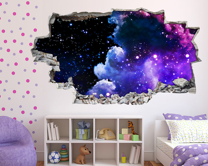 Purple#7300E0 Clouds Sky Girls Bedroom Decal Vinyl Wall Sticker A041
