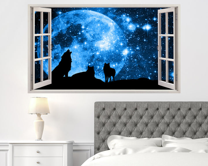 Full Moon Wolf Howl Bedroom Decal Vinyl Wall Sticker A042w