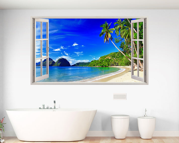 Coast Paradise Beach Bathroom Decal Vinyl Wall Sticker A045w