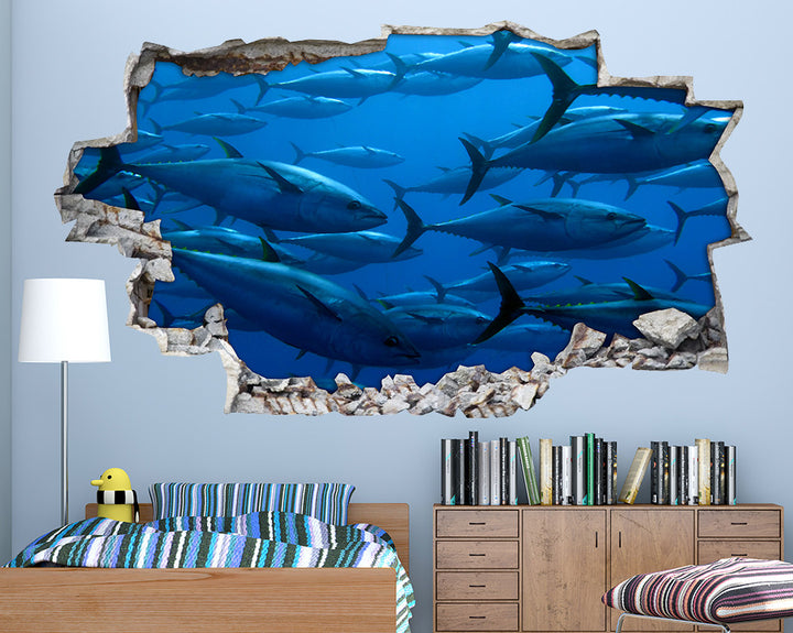 Blue#0444FB Swimming Fish Boys Bedroom Decal Vinyl Wall Sticker A049