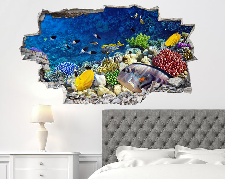 Coral Reef Yellow#EBFE08 Fish Bedroom Decal Vinyl Wall Sticker A056