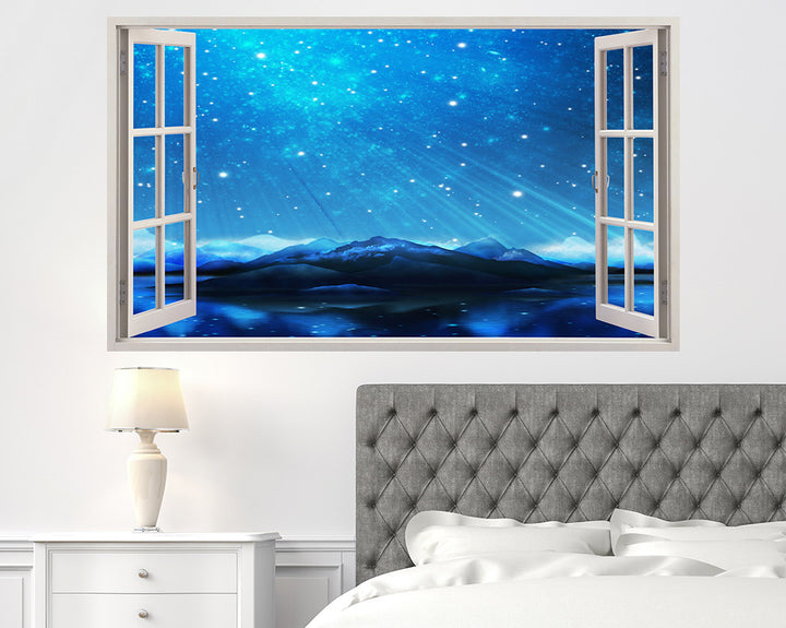 Starry Sky Mountains Bedroom Decal Vinyl Wall Sticker A057w
