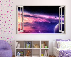 Pink#E000C5 Space Planets Girls Bedroom Decal Vinyl Wall Sticker A060w