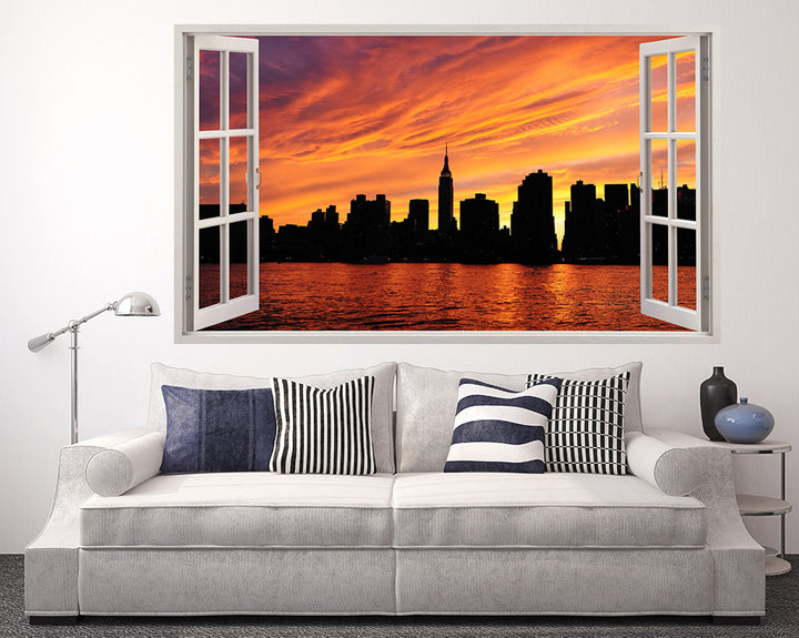 Sunset Silhouette Skyline Living Room Decal Vinyl Wall Sticker A064w