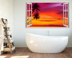 Palm Trees Bright Sunset Bathroom Decal Vinyl Wall Sticker A069w