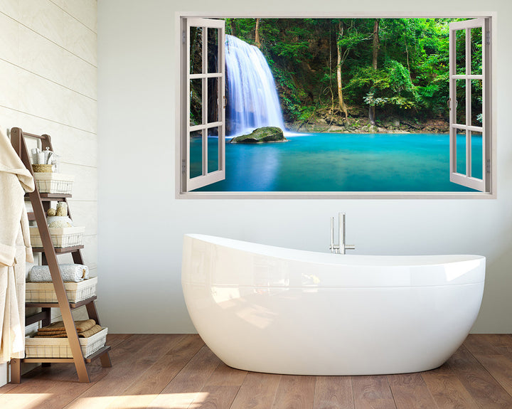 Peaceful Waterfall Paradise Bathroom Decal Vinyl Wall Sticker A072w
